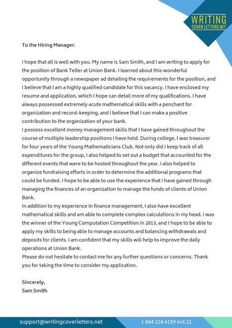 Cover Letter Sample for Bank Teller with No Exp...