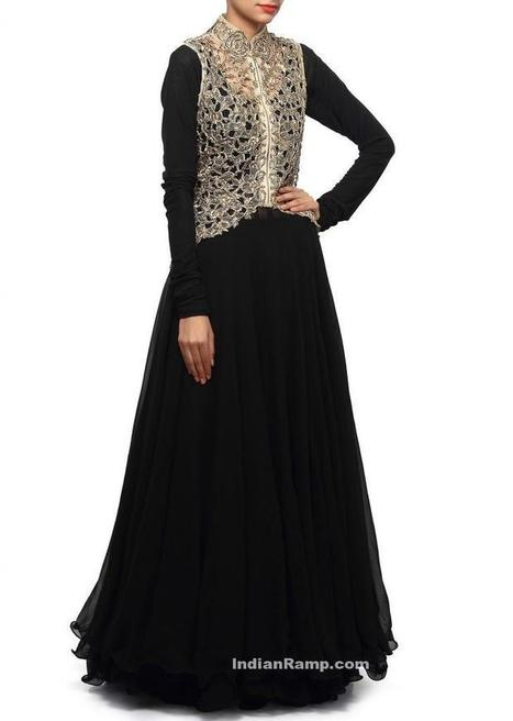 Long Frock Backless Black Anarkali Dress with high Collar Golden Cut Work Jacket, Indian Fashion | Indian Fashion Updates | Scoop.it