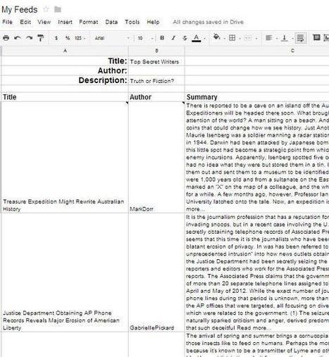 Create an RSS Feed Reader Using Google Spreadsheet | Infotention | Scoop.it