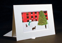 Cat Christmas Card Handmade: Three Cats and Snowman   Deborah Julian Art   Christmas Cat Ornaments and Cards   Scoop.it