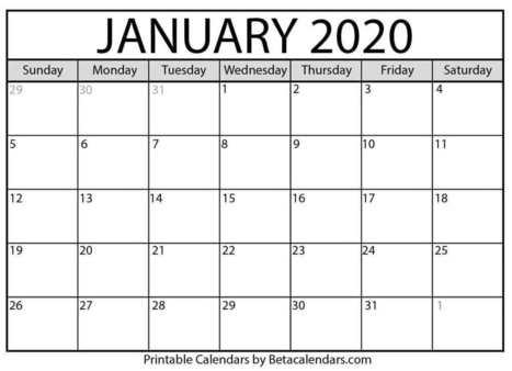 January Printable Calendar 2020.January 2020 Calendar Printable Calendars