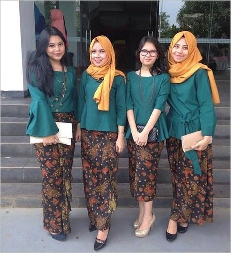 10 Model Baju Batik Pesta Wanita Muslim Modern