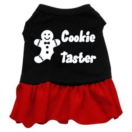 New Pet Products - Cookie Taster Screen Print Dress Black with Red Med (12)  + Free Gift of Beautiful Pet Charm (random style) 666da8cae