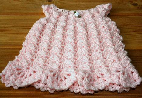 0-3 months Pink crochet baby dress Handmade bab...