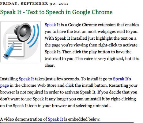 Speak It - Text to Speech in Google Chrome | LCMCISD Google Resources | Scoop.it