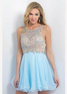 e76c2aff239 Short Ice Blue Nude Beaded Illusion Bodice Key Hole Back Homecoming Dress   Blush 10057  -  210.00   Cheap Prom Dresses Sale