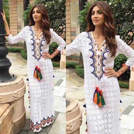 5e049b98b47 Shilpa Shetty in Lacy White Maxi Dress by Hemant   Nandita
