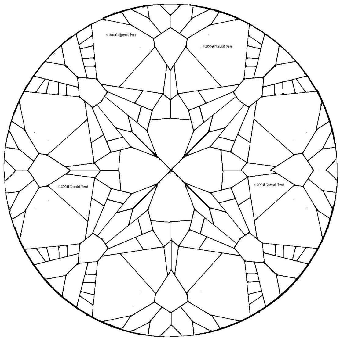 Geometric Round Window Stained Glass Pattern