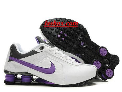 new concept 0ecc2 9e83e chaussures nike shox r4 femme (blanc pourpre)
