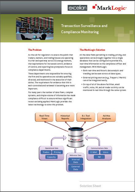 Transaction Surveillance and Compliance Monitoring | MarkLogic | MarkLogic - Enterprise NoSQL Database | Scoop.it