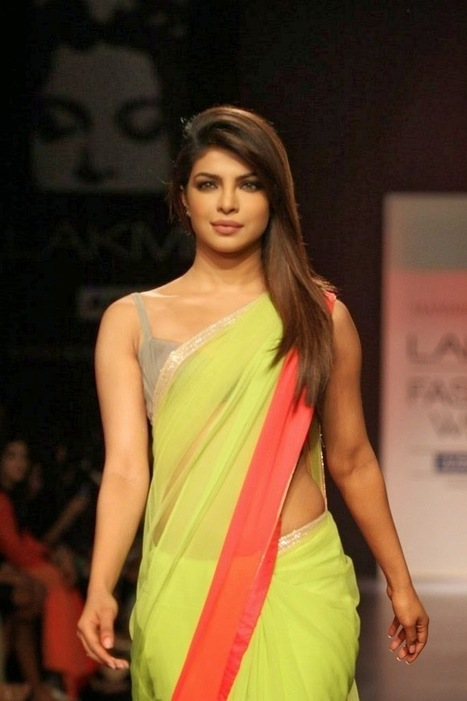 Priyanka Chopra In Saree and Backless Blouse on Ramp for Manish Malhotra Lakme Fashion Week, Actress, Bollywood, Indian Fashion | Indian Fashion Updates | Scoop.it