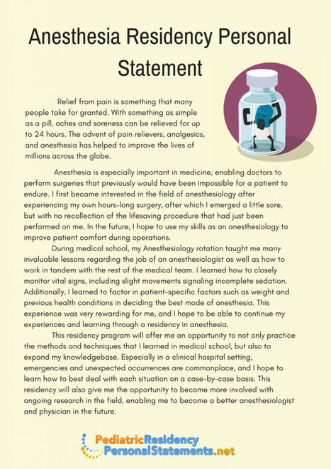 Anesthesia Residency Personal Statement Sample ...