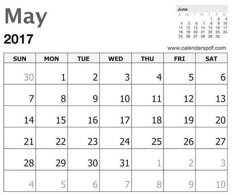 May 2017 Calendar Template Print Blankn
