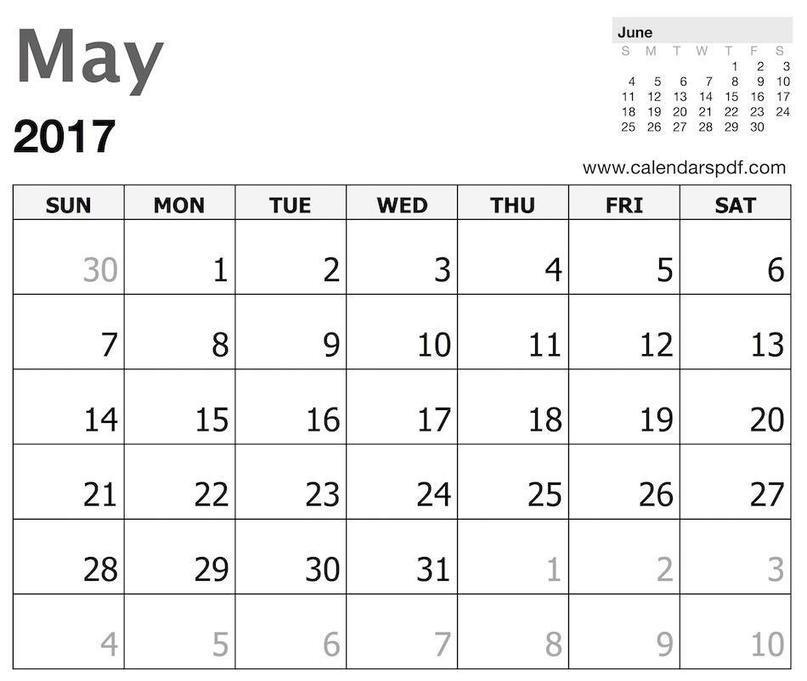 May 2017 Calendar Template | Print Blank&n...