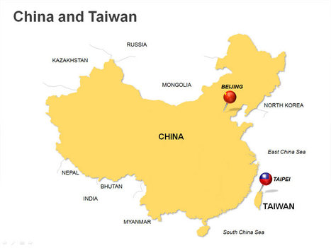 Powerpoint China And Taiwan Map In Powerpoint Presentation Tools