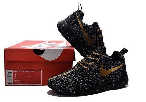 60e3316e873d NIKE Roshe Run One x Yeezy 350 Boost Women Men Black Gold Shoes   Adidasultraboost-011  -  56.99
