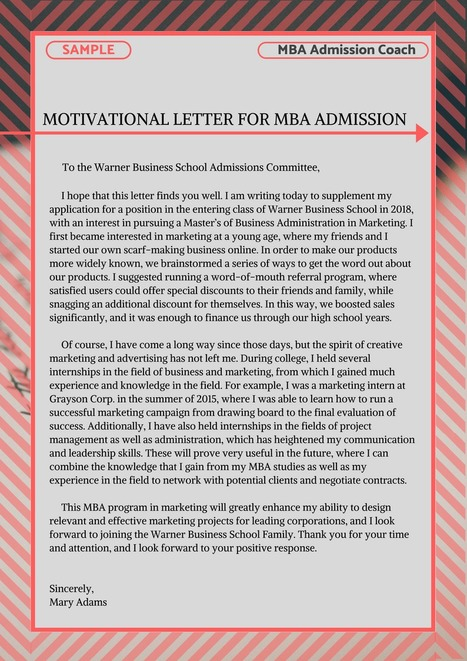 Motivation Letter For Mba Admission Example