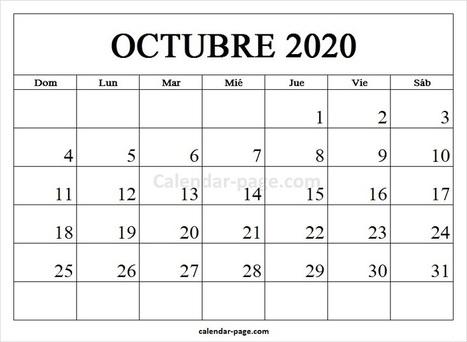 Calendario Mes De Octubre 2020 Para Imprimir.Calendario Octubre 2020 Watershowspeakers