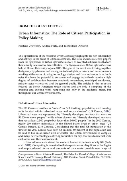 Urban Informatics: The Role of Citizen Participation in Policy Making | New technologies and public participation | Nouvelles technologies et participation publiques | Scoop.it