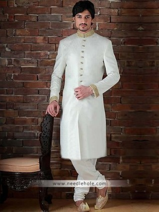 Splashed White Mens Sherwani For Wedding And Reception In Jamawar Fabric Heavy Embroidered Collar Sleeves Buttons Detail On Front