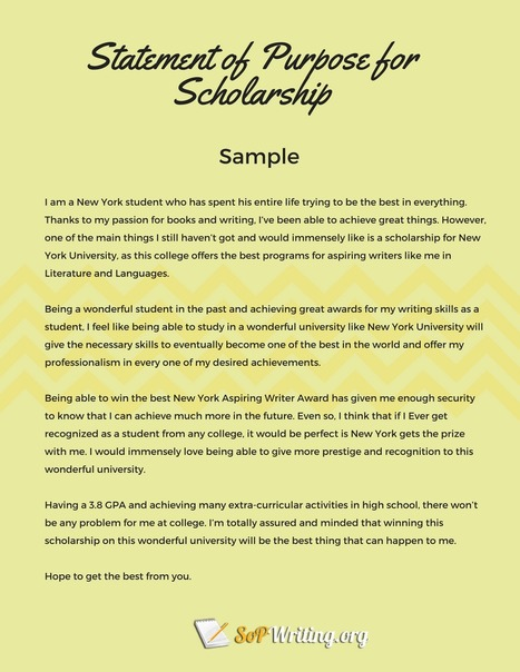 Statement Of Purpose Sample Scholarship Sample
