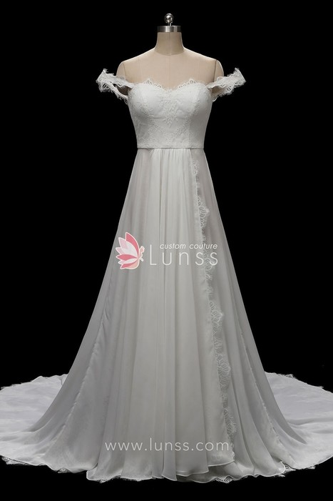 239ff611e4 Ivory Flowy Lace Chiffon Beach Wedding Dress with Court Train - Lunss  Couture