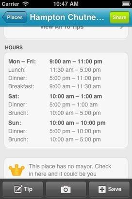 Foursquare vous renseigne sur les horaires des commerces | #Localisation | Scoop.it