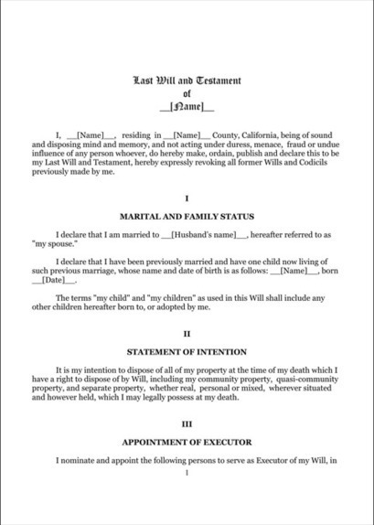 Last Will And Testament Template Form Connectic
