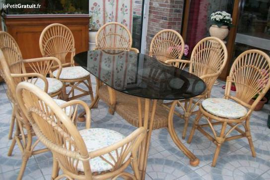 1 table et 8 chaises en rotin canne des philipp for Table et chaise en rotin
