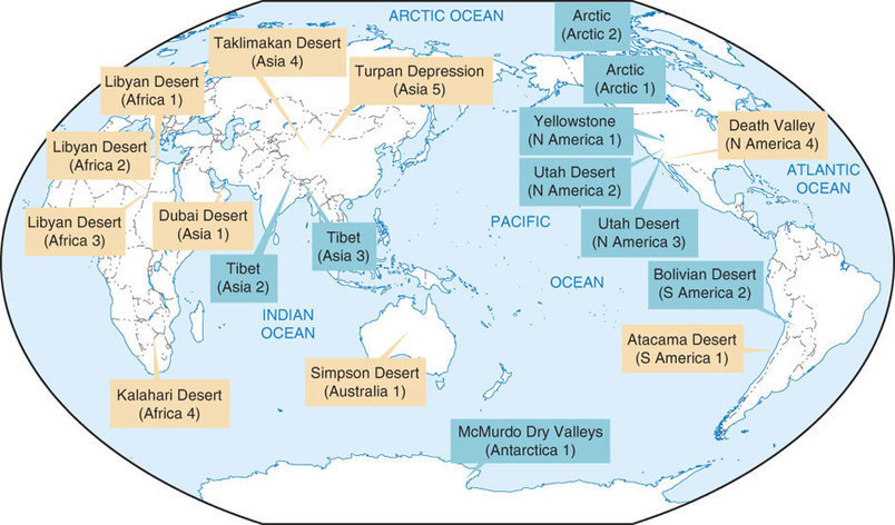 Map of Cold Deserts (Cold Deserts labeled in Bl...