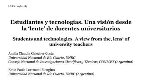 [PDF] Estudiantes y tecnologías. Una visión desde la 'lente' de docentes universitarios | Edumorfosis.it | Scoop.it
