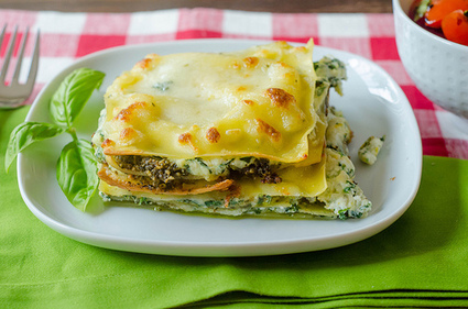 Pink Parsley: Three-Cheese Pesto Lasagna Stacks | À Catanada na Cozinha Magazine | Scoop.it