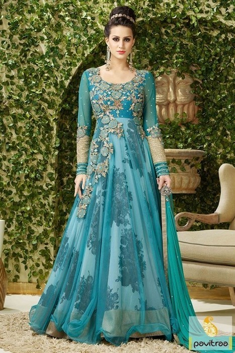 Sky Blue Bridesmaid Indo Western Gown | Online ...