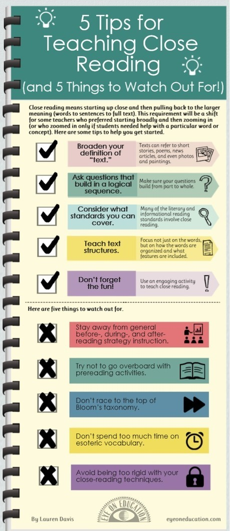 Infographic: 5 Tips for Teaching Close Reading (and 5 Things to Watch Out For!) > Eye On Education | Common Core and Teacher Leadership | Scoop.it