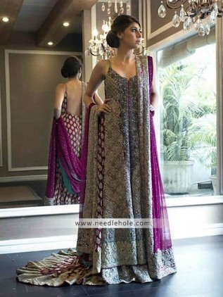 Glamourous Purple Wedding Dress For Brides Sweet Heart Neck Flared Embellished Court Train Bridal Shirt Comes With Sharara And Brial Dupatta