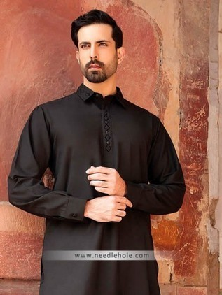 4b8495891b Mens shalwar kameez suit for wedding party in black color. Embroidered  collar and front with matching shalwar