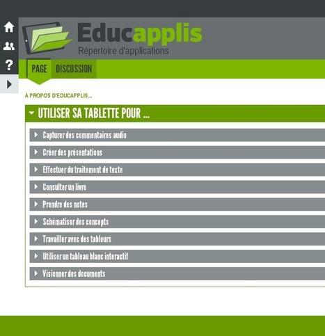 Educapplis : un répertoire d'applications pour tablettes | CDI RAISMES - MA | Scoop.it
