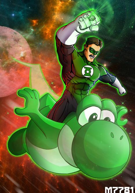 8bitmonkey: Green Lantern riding Yoshi | All Geeks | Scoop.it