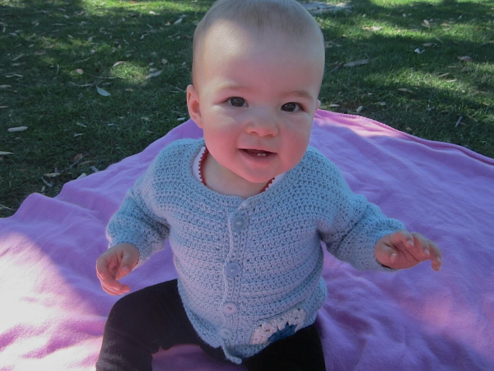 c202e32d2 Pocket Trim Crochet Cardigan for baby