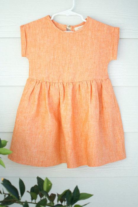 d30c812db9 Stylish Orange Linen Summer Dress For Girls nbs...