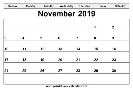 Printable Calendar November 2019 Template