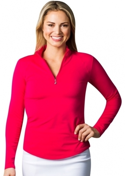 7c6a6273a3b SanSoleil Ladies   Plus Size SolTek Ice Solid Zip Mock Long Sleeve Golf  Shirts - Assorted Colors