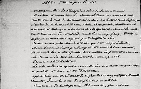 Chronique locale de l'année 1858 de Chazelles-sur-Lyon (42) | En remontant le temps | Scoop.it
