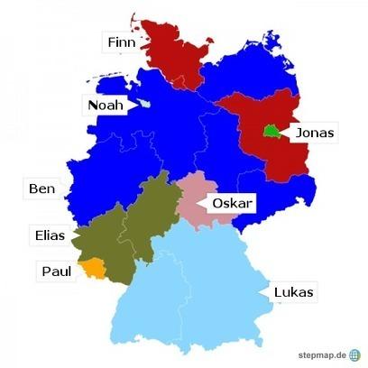 Spitzenreiter je Bundesland [Babynamen 2016] = Top names by German state | Name News | Scoop.it