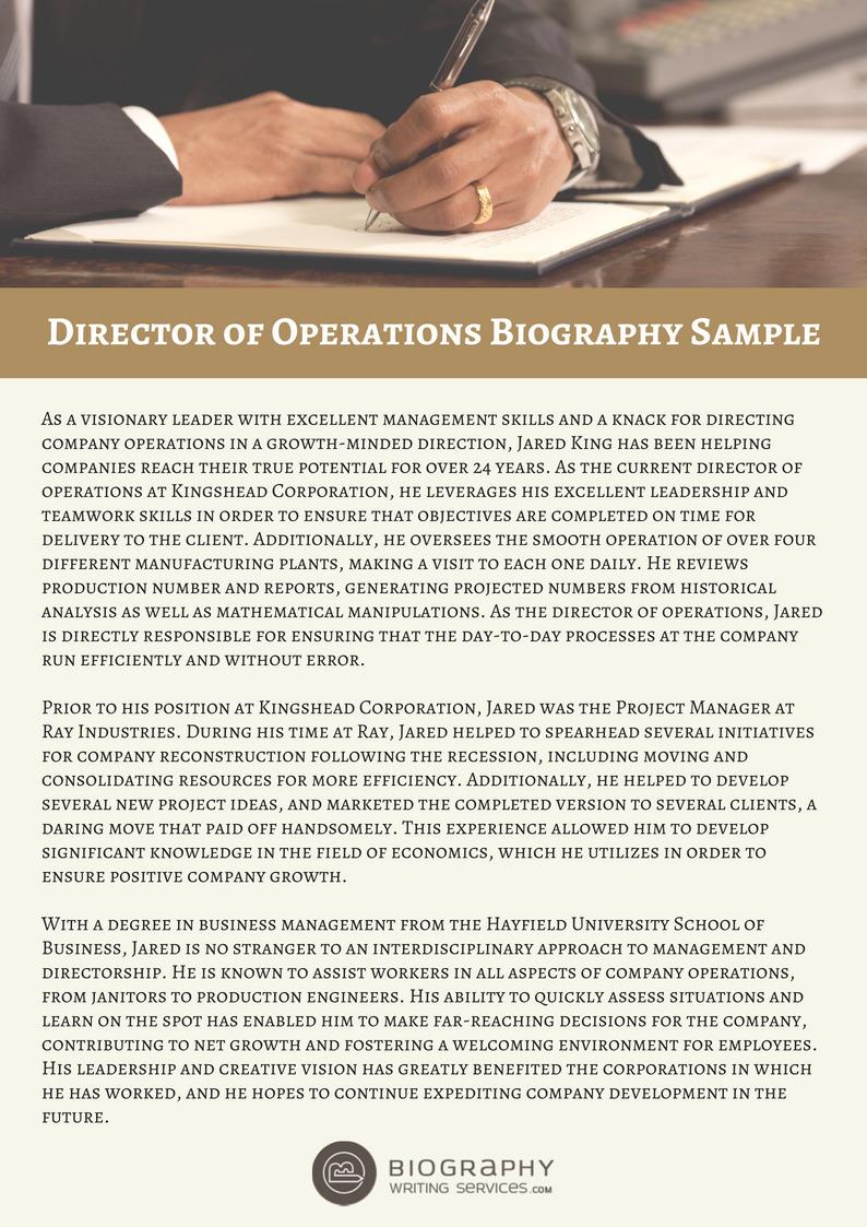 Director Of Operations Bio Sample Biography W