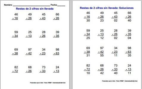Sumas y Restas – Fichas para aprender a r...
