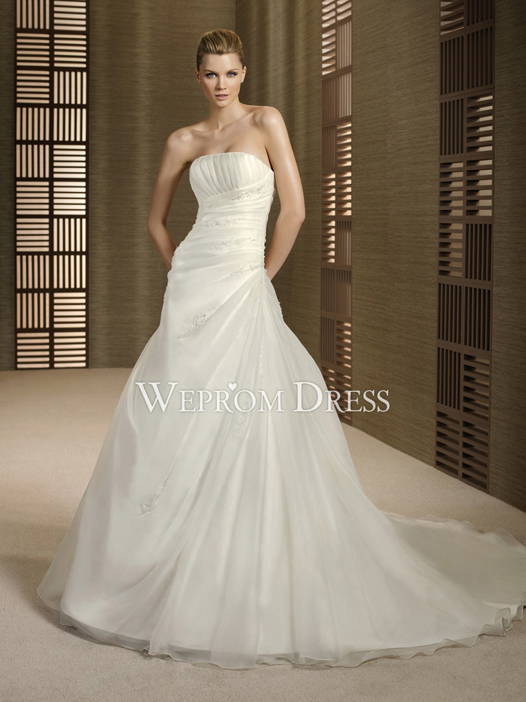a714d35aec8 Natural Satin Strapless Wedding Dresses