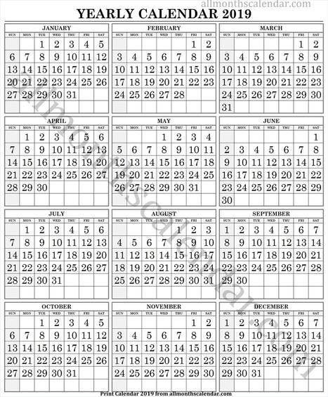 Calendar 2019 Large Numbers Templates Printab