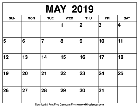 image relating to Printable Wiki titled Blank Could 2019 Calendar Printable Wiki Calend
