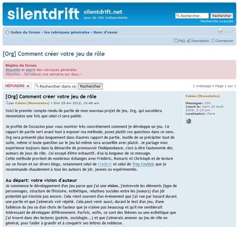 silentdrift.net • [Org] Comment créer votre jeu de rôle | JdR Francophone | Scoop.it